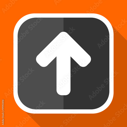 Up Arrow Vector Icon Flat Design Square Internet Gray Button On