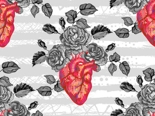 Seamless pattern with rose flower and heart. Blooming anatomical human heart. Vector hand drawn illustration in vintage style. Perfect for wallpaper, pattern fill, web page background, surface texture