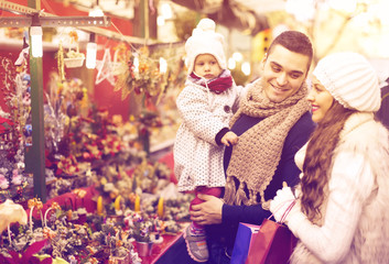 Family of four at Christmas market