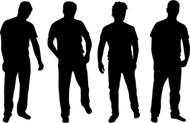 People silhouettes. Vector works.