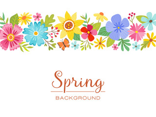 Spring floral isolated banner design