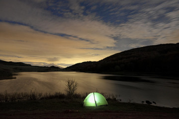 Wild Camp At Night On Lake In Nebrodi Park, Sicily