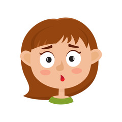 Little girl surprised face expression, cartoon vector illustrations