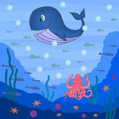 Cute underwater ocean life vector illustration including whale, octopus and fishes