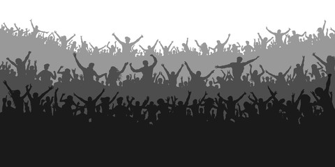 Applause sports fans. Cheering crowd people concert, party. Isolated background silhouette vector. Banner, poster