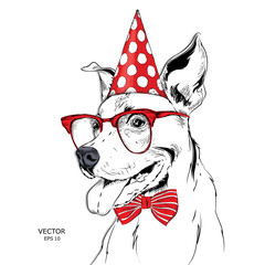 Hand draw dog in a celebratory cap. Vector illustration