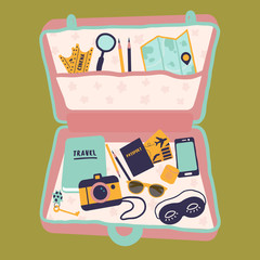 Vector illustration of open travel case with things, passport, camera, diary. Female traveler buggage suitcase. Travelbag with map, pencils, phone, tickets. Ready for flying journey or vacation