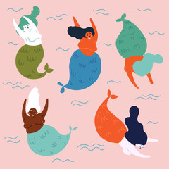 Set of underwater legendary and mythical creatures mermaids. Five fishwoman in water are having fun. Underwater fantasy life