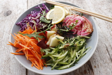 Vegetarian salad from organic raw vegetables.