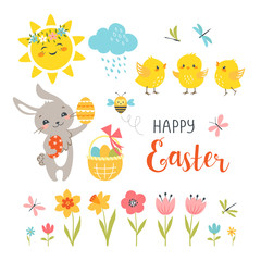 Cute Easter bunny, chicks, spring flowers, butterflies, dragonflies, bee, sun, cloud and hand drawn text isolated on white background.