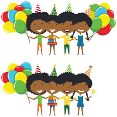 African-American girls hugging and holding colorful wrapped gift boxes and bright balloons.