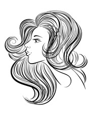 Portrait of young beautiful woman with long hair. Hand drawn girl with red lips. Vector digital drawing. Line art.