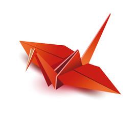 Origami. Origami crane. Red origami crane. Red paper origami crane. Paper crane. Vector illustration Eps10 file