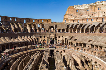 Inside the impressive historical Colosseum in Rome.
