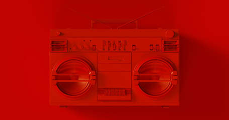 Red Boombox 3d illustration Wall mural