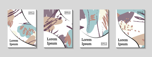 Minimal vector covers set. Artistic painted design set. Abstract gradient pattern background. Eps10. Can be use for journal, composition, cover, book, certificate, card, flyer