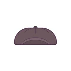 black baseball cap line art vector illustration.