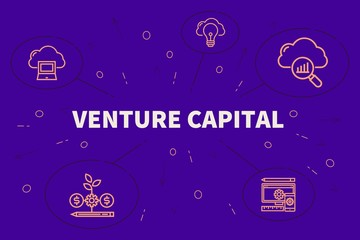 Conceptual business illustration with the words venture capital