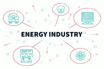Conceptual business illustration with the words energy industry