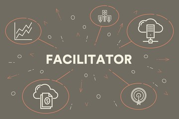 Conceptual business illustration with the words facilitator