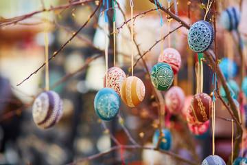 Colorful Easter eggs sold on Easter fair in Vilnius