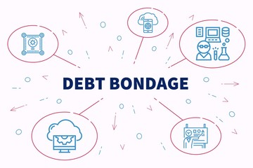 Conceptual business illustration with the words debt bondage