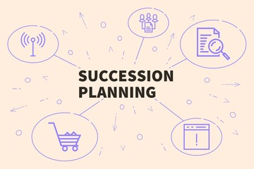 Conceptual business illustration with the words succession planning