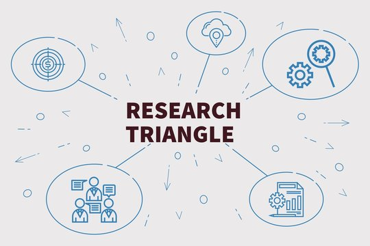 Conceptual business illustration with the words research triangle