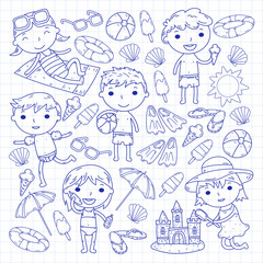 Little children play. Summer camp, beach, vacation. Kindergarten and preschool kids. Play, learn, grow together. Beach, sand castle, sunglasses, icecream, sun, ball. Boys and girls vector pattern