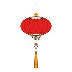 chinese lamp hanging icon vector illustration design