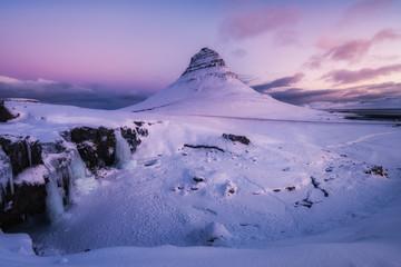 amazing kirkjufell mountain at dawn, iceland