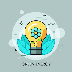 Light bulb with blooming flower inside it and leaves. Concept of green energy, ecologically friendly clean technology, electricity generation.
