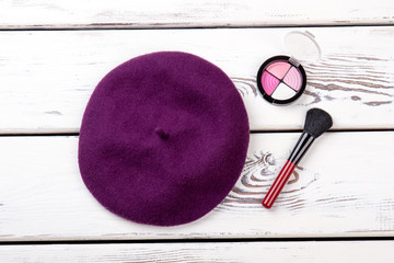 d562fa19ecb Female french beret and cosmetics. Women autumn hat
