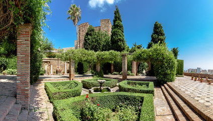 Beautiful Garden at the old Fortress of Malaga, Spain.