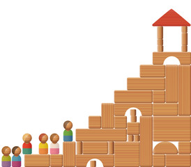 Stairs to success shown with building blocks and toy figures. Symbol for education, career, increase, growth, development, prosperity or victory.