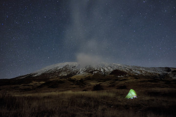 Lighting Tent Under Winter Etna Mount And Starry Night, Sicily