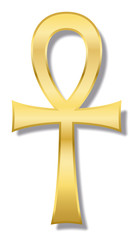 Ankh, also known as key of life, key of Nile, crux ansata - ancient Egyptian hieroglyphic character represents the concept of eternal life. Golden illustration on white background.