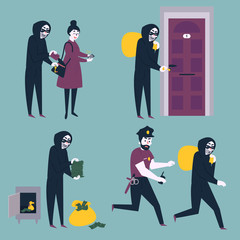 Set of situations. Thief, robber and burglar trying to steal money from woman citizen, break in the house, open safe and run away from cop policeman. Various theft cases. Flat vector illustration