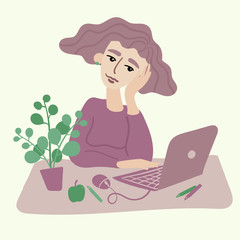 Attractive young woman with curly hair sit at her working place with laptop. Thoughtful girl. Plant, apple, mouse, pen and pencils on desktop. Vector flat illustration in pastel lilac and green tones