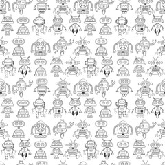 Lamas personalizadas infantiles con tu foto A cute, small, friendly blue with a red robot, with antennas and wires, kind vintage eyes and comic style inscriptions. Abstract seamless robot pattern for girls or boys. Creative robot vector pattern