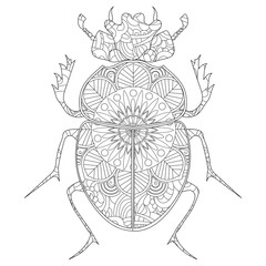 Anti-stress coloring book vector. Egyptian Scarab beetle.