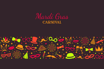Mardi Gras - banner with party icons. Vector.