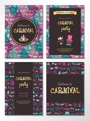 Collection of Carnival Party invitations. Colourful cards with funny texture. Vector.