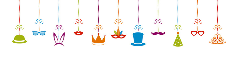 Concept of a panoramic banner with funny party elements. Decoration for carnival, party, birthday and photobooth. Vector.
