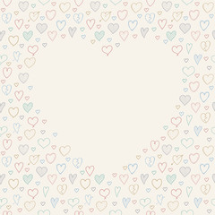 Background with hand drawn hearts and copyspace. Concept of a card for Valentine's Day, Mother's Day or Women's Day. Vector.