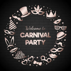 Welcome to Carnival Party - poster with funny party elements. Vector.