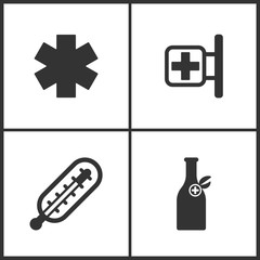 Vector Illustration Set Medical Icons. Elements of Pharmacy, Thermometer and Medicine vial bottle icon