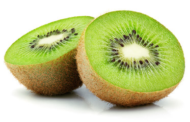 Two halves of ripe kiwi fruit isolated on white background