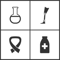 Vector Illustration Set Medical Icons. Elements of Laboratory glass, Prosthesis, AIDS and Medicine vial bottle icon