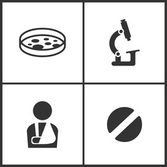 Vector Illustration Set Medical Icons. Elements of Test tube, Microscope, Injured man and Pill icon